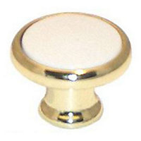Bouton métal blanc/doré brillant Tempa Ø35mm
