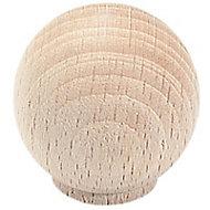Bouton meuble hêtre brut Boule Ø35 mm