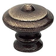 Bouton meuble rustique métal chromé vieilli Ø30mm
