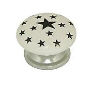 Bouton rond porcelaine blanc décor étoile noir brillant Ø38mm