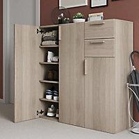 Buffet avec portes et tiroirs effet chêne GoodHome Atomia H. 112,5 x L. 112,5 x P. 37 cm