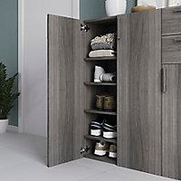 Buffet avec portes et tiroirs effet chêne grisé GoodHome Atomia H. 112,5 x L. 112,5 x P. 37 cm