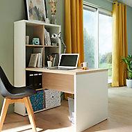 Bureau étagère 8 cases bicolore chêne clair/blanc