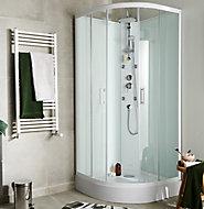 Cabine de douche hydromassante circulaire blanc GoodHome Onega 85 x 85 cm