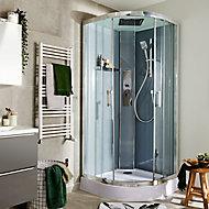 Cabine de douche hydromassante circulaire chromé GoodHome Beloya 90 x 90 cm