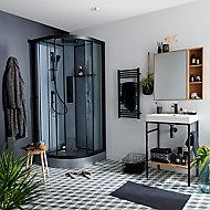 Cabine de douche hydromassante circulaire noir GoodHome Beloya 90 x 90 cm