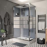Cabine de douche hydromassante droite chromé finition miroir GoodHome Beloya 80 x 120 cm