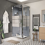 Cabine de douche hydromassante droite chromé finition miroir GoodHome Beloya 90 x 90 cm