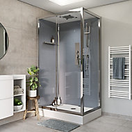Cabine de douche hydromassante droite chromé GoodHome Beloya 90 x 110 cm