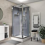 Cabine de douche hydromassante droite chromé GoodHome Beloya 90 x 90 cm