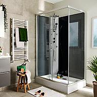 Cabine de douche hydromassante droite chromé GoodHome Onega 80 x 120 cm