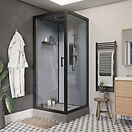 Cabine de douche hydromassante droite noir GoodHome Beloya 90 x 90 cm