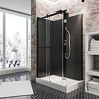 Cabine de douche intégrale, Korsika noire Schulte, 120 x 80 cm, ouverture gauche