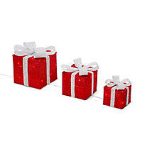 Cadeaux lumineux rouge 31, 25, 18 cm