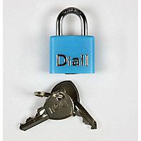 Cadenas à clé gaine bleu Diall 20 mm