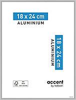 Cadre photo aluminium argent mat Accent 18 x 24 cm