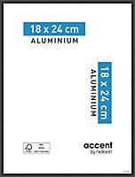 Cadre photo aluminium noir Accent 18 x 24 cm