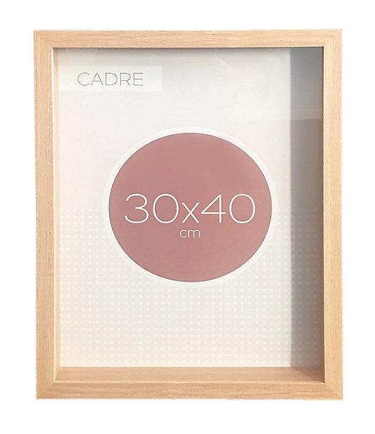 cadre vitrine vide bois 30 x 40 cm