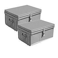 Cantine métal l.50/55 cm Snor gris, lot de 2