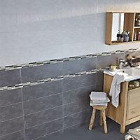 Carrelage mur blanc effet béton 20 x 60 cm Colours Romana
