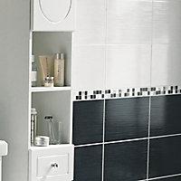 Carrelage mur blanc effet pierre 25 x 40 cm Rigato