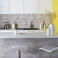 Carrelage mur décor 3D gris 25 x 75 cm Izonso