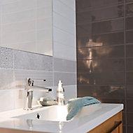 Carrelage mur décor Little Italy gris et blanc 10 x 40 cm