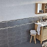 Carrelage mur gris effet béton 20 x 60 cm Romana