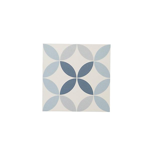Carrelage Sol Bleu Decor Circle 20 X 20 Cm Hydrolic Castorama