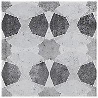 Carrelage sol et mur blanc et noir 20 x 20 cm Decor Cementine (vendu au carton)