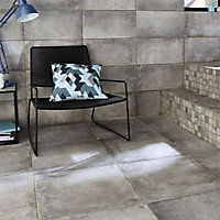 Carrelage sol et mur gris effet béton 25 x 50 cm Container