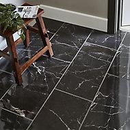 Carrelage sol noir 30 x 60 cm Elegance Marble