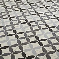 Carrelage sol noir et blanc décor circle 20 x 20 cm Hydrolic