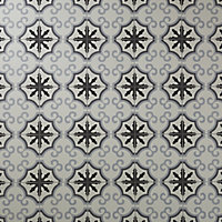 Carrelage sol noir et blanc décor flower 20 x 20 cm Hydrolic