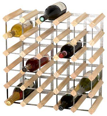 casier 30 bouteilles en bois et metal galvanise