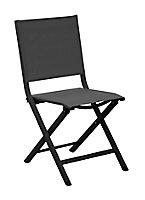 Chaise de jardin en aluminium Proloisirs Thema graphite et noir