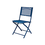 Chaise de jardin en métal et toile GoodHome Saba bleu