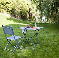 Chaise de jardin en métal et toile GoodHome Saba gris