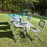 Chaise de jardin en métal et toile GoodHome Saba kaki