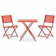 Chaise de jardin en métal Saba rouge vermillon pliante