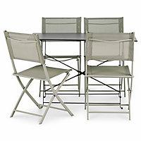 Chaise de jardin en métal Saba vert argile pliante