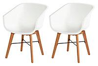 Chaise de jardin en résine Amalia blanche (lot de 2)