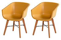 Chaise de jardin en résine Amalia jaune (lot de 2)