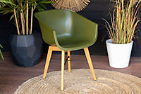 Chaise de jardin en résine Amalia verte (lot de 2)