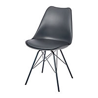 Chaise GoodHome Marula métal anthracite
