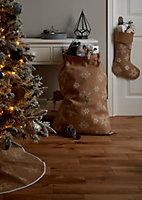 Chaussette de noël Déco flocons 60 x 80 cm