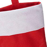 Chaussette rouge et blanche en feutre