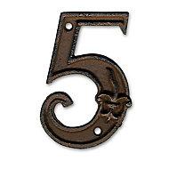 """Chiffre """"5"""" en fonte H.12 cm"""