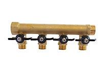 Collecteur laiton avec mini-vannes intégrées 4 départs M15/21 - Entrée F20/27 - Sortie M20/27 Somatherm for you