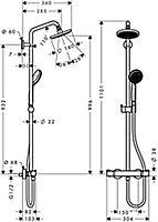Colonne de douche thermostatique Hansgrohe Croma 160